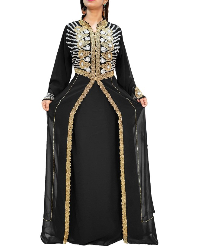 African dubai black muslim abaya long sleeve wedding gown party dresses for women