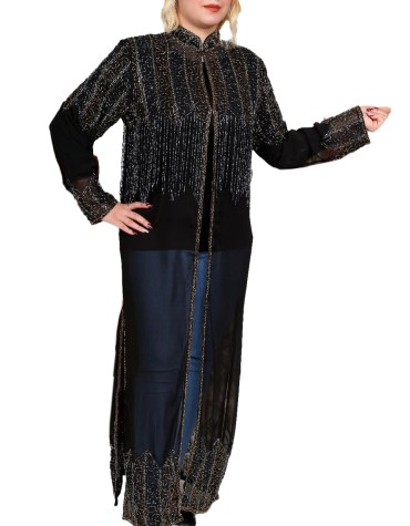 New Arrived Summer Party Wear Light Weight Designer Beaded Long Shrug Abaya