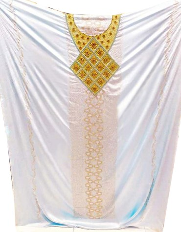 African Wedding Attire White Silk Satin Party Wear Fringed Dresses Material