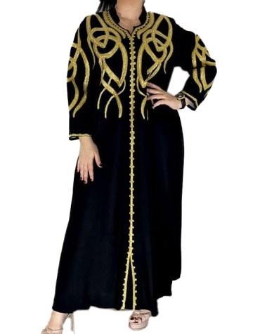 Latest Golden Embroidered Collared Neck Chiffon Kaftan Modest Dress for Women