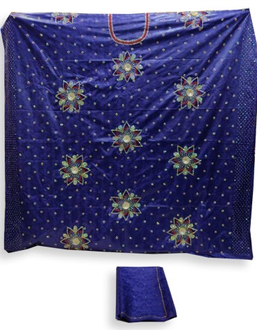 Premium African Attire Elegant Satin Silk Dress Material Embroider With silver Stone Outfit For Women