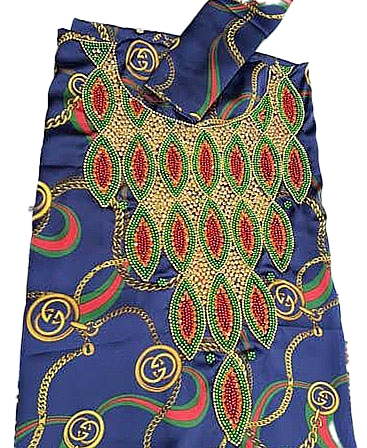 Dubai Women Swiss Voile Weightless Chain Blue Printed Satin Beaded Dress Material
