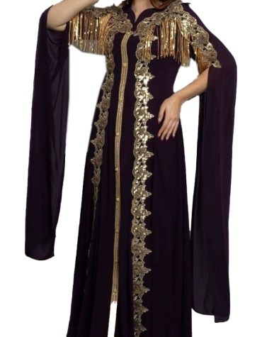 African Gold Embroidery Evening Gown Long Abaya Caftan Dresses for Women