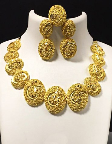 African Trendy Color Design 2 Gram Gold Plated Necklace Set For Party For Women