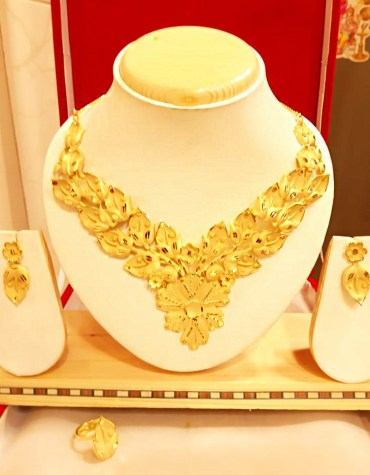 African New Colourful Design 2 Gram Gold Plated Necklace Set For Party For Women