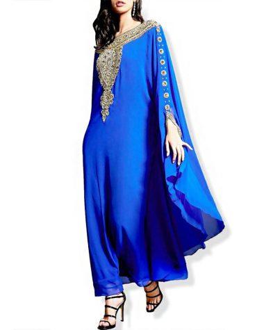 African Attire Golden Silver stone Work Evening Dresses Dubai Kaftan For Women