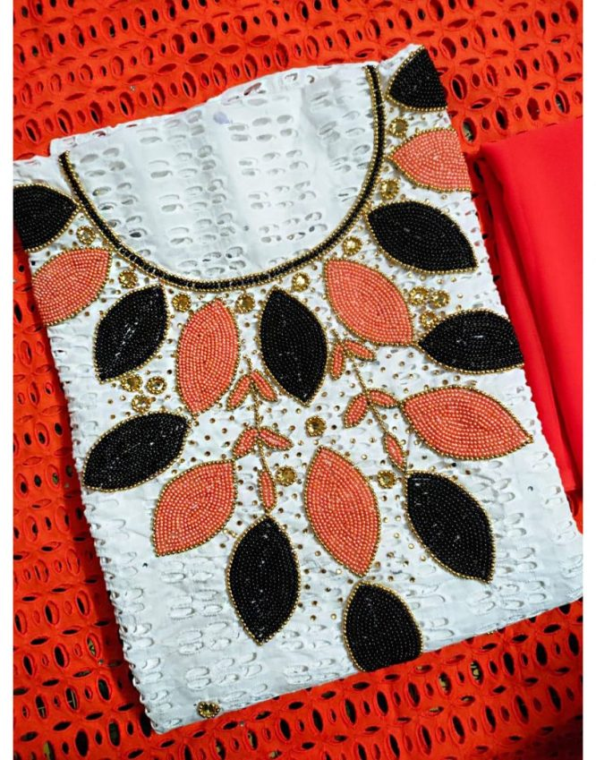 New Trendy Dry Cotton Lace Dubai Embroidery Work Party Dress Material For Women
