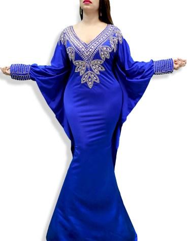 Designer Fancy Evening Moroccan Beaded Long Modest Spandex Kaftan For Women