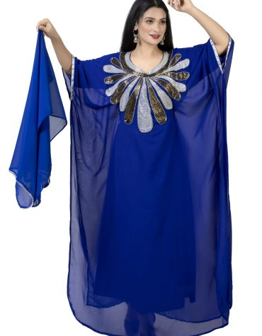 Royal Blue African Attire Kaftan With Silver and Black Beaded Work For Women
