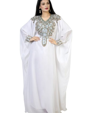 African Designer White Kaftan With Crystal and Rhinestone Beaded Work For Women