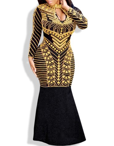 African open Chest Collared Bridesmaids Long Party Wear Dresses Spandex Kaftan