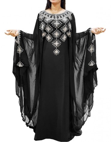 New Silver Work And Crystal Stone Designer Dubai Kaftan Black Abaya Jalabiya Kaftan Dress For Women