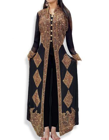 Gold Embellished Beaded African Formal Dresses Lycra Kaftan with Scarf