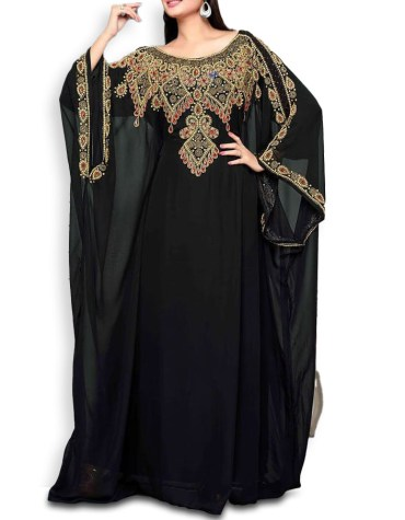 Trendy Dubai Kaftan Eid Collection for Women Beaded Boat Neck Formal Chiffon Kaftan