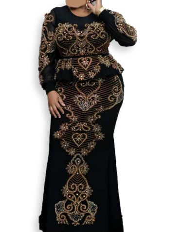 New Eid Collection Trendy Moroccan Beaded Peplum Evening Party Wear Dress for Women