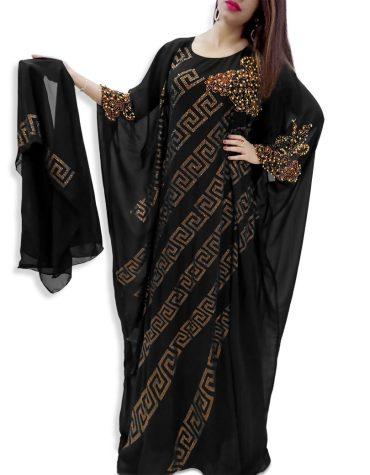 African Attire Golden Rhinestone Work Party Wear Full Sleeve Chiffon Kaftan Dress For Women