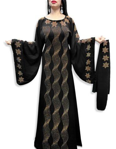 Latest African Attire Star Rhinestone Work Dubai Kaftan Party Dresses For Women