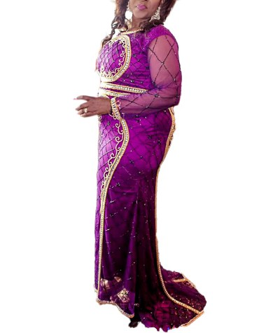 Premium Designer Party wear Crystal Beaded Long Sleeves Tulle Wedding Dress For Women