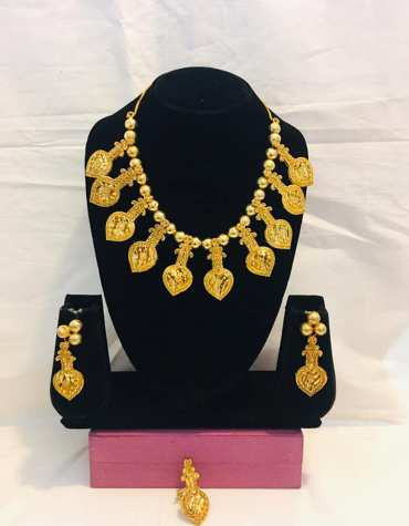 Floral Premium Super Design 2 Gram Gold Plated Necklace Set For Party For Women