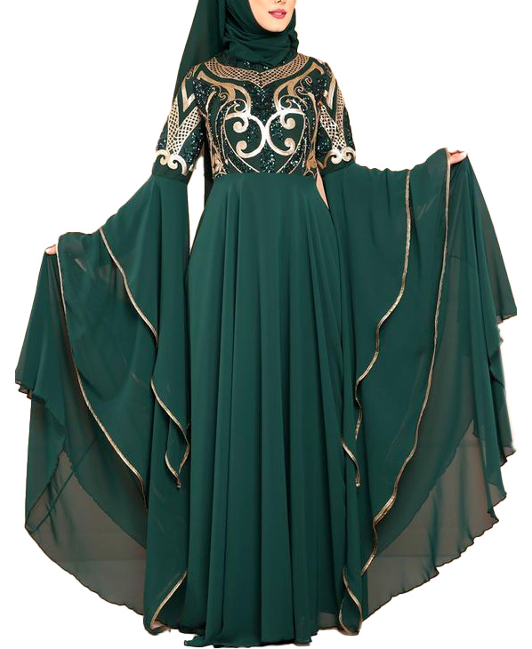 Super Premium Trendy Gold Embroidery African Evening Long Gown Dresses For Women