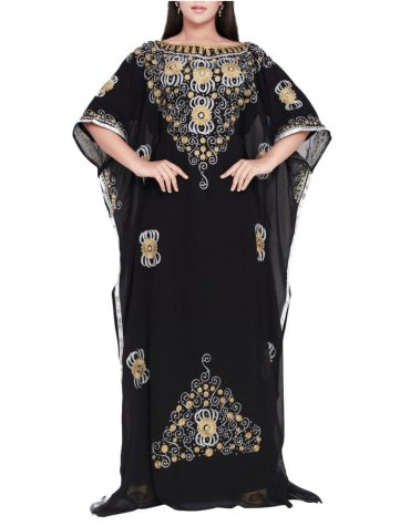 Latest Collection Long Sleeve Plus Size With Embroidery Work Kaftan Dresses For Women