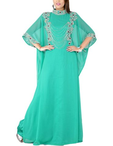 New Exclusive Designer Dubai Kaftan Elegant Jalabiya Maxi Gown Beaded Work Party Dress