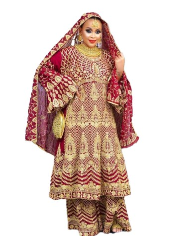 Indian Bridal Chiffon Kaftan with Heavy Golden Embroidery Design for Women