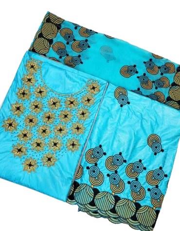 100% Super Magnum Gold Getzner Riche Bazin Firozi Dress Material with Golden Beads