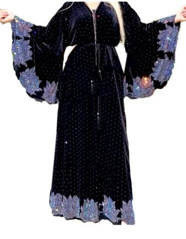 Newly Design Elegant African Attire Rhinestone Beaded Velvet Dubai Kaftan Abaya
