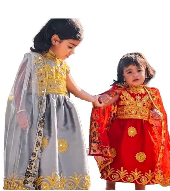 New Eid Kids Collection Trendy Golden Embroidery Designer Chiffon Kaftan Dress