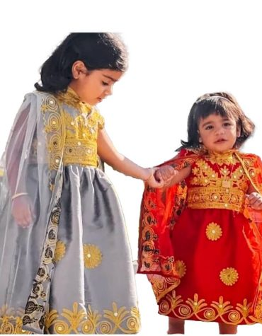 New Eid Kids Collection Trendy Golden Embroidery Designer Chiffon Kaftan Dress