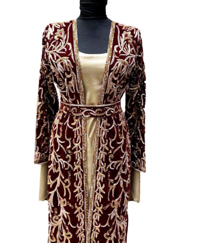 Special Eid Edition Plus Size Golden Crystal Beads Formal Velvet Jacket Kaftan
