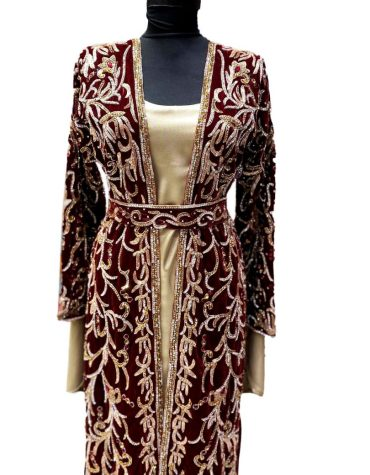 Special Eid Edition Plus Size Golden Crystal Beads Formal Velvet Jacket Kaftan