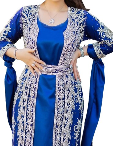 Special Eid Edition Plus Size Heavy Silver Crystal Stone Beaded Net Kaftan for Women