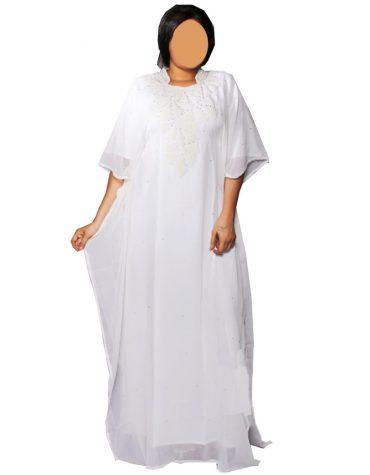 Latest African Attire New Designer Collared White Beaded Chiffon Dress For Women