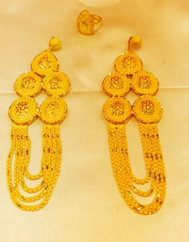 Latest Premium Gold Platted Round Coin Dubai Design Earrings Women Jewellery
