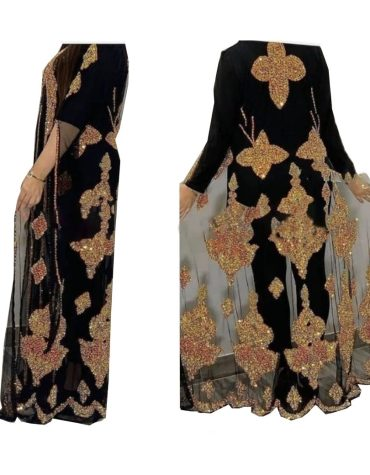 New Heavy Beaded Jacket Wedding Kaftan Party Abaya Evening Gown with Sleeve for Women