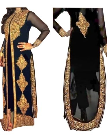 latest Golden Jacket Fancy Kaftan Party Abaya Evening Gown with Sleeve for Women