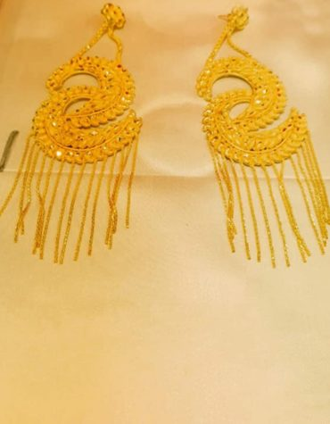 Dual Cresent Moon PatternTrendy Designer Gold Platted Earrings Women Jewellery