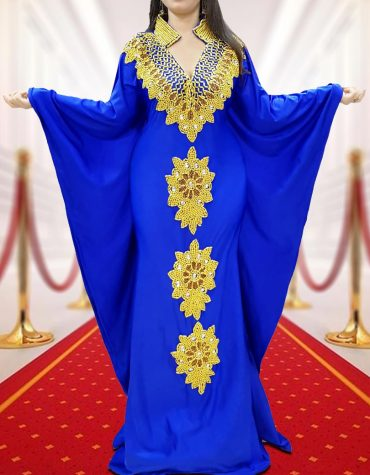 Gold Morrocan Beaded Evening Long Party Abaya African Kaftan Dresses for Women