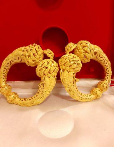 Latest African Designer Fine Finish 2 Gram Gold Bangle Set For Women