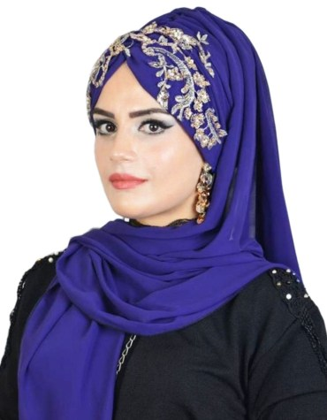 African Beautiful Crystal Stone Beaded Eid Collection Designer Head Scarf For Women