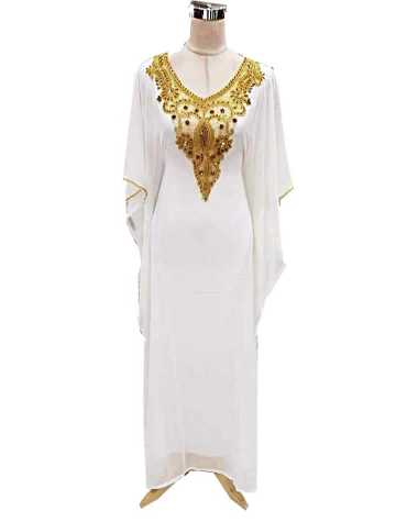 African New Design Embroidery Moroccan Beaded Elegant Dubai Kaftan For Women