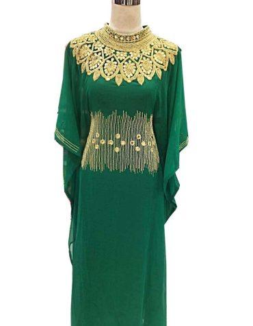 African Attire New Design Embroidery Moroccan Beaded Elegant Women Dubai Kaftan