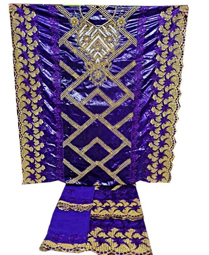 African Golden Beaded 100% Super Magnum Gold Getzner Riche Bazin Dress Material