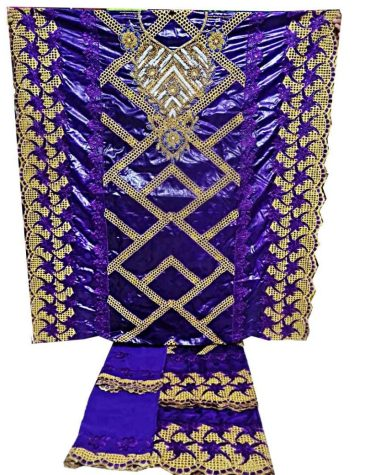 African Golden Beaded 100% Super Magnum Gold Getzner Riche Bazin Dress Material