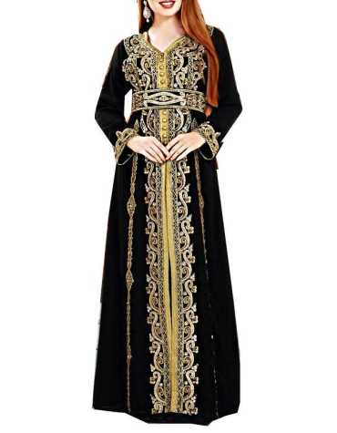 African Attire Sleeve Party Wear Kaftan beded Evening Wedding Dress For Women
