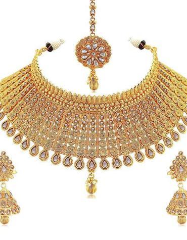 Gold Plated Australian Diamond Necklace Chokar Set