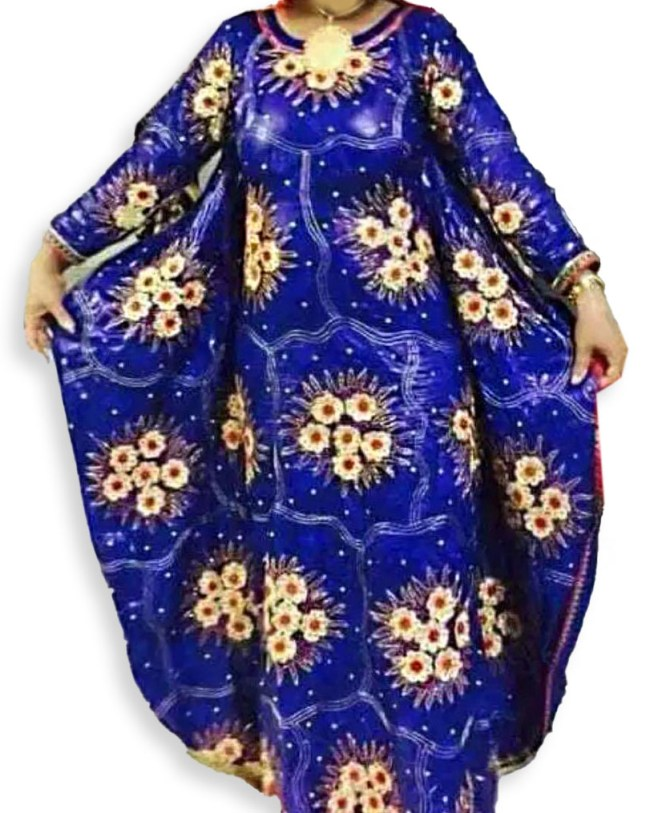 African Attire Fully Embroidered Dresses For Women Party Wear Stone Work Bazin in Getzner Fabric