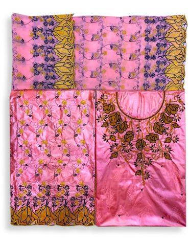 Trendiest Embroidered 100% Super Magnum Gold Getzner Riche Bazin Dress Material With Bead Work